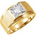 FOREVER ONE GHI MOISSANITE SOLITAIRE MEN'S RING 07.50 MM=1 CT 14K Yellow/White Gold