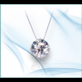 Forever One GHI Moissanite Solitaire Round Cut Pendant 5.00-11.50 mm 1/2 - 5.37 Carat with 14k white gold chain