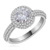 Riviera Vintage Round Cut Moissanite & Diamond Engagement Ring Wedding Set 2.17 Carat T.W. Handcrafted in 14K White Gold