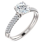 Forever One GHI Riviera Vintage Round Cut Moissanite & Diamond Engagement Ring 3.30 Carat T.W. Handcrafted in 14K White Gold