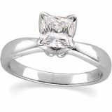 Princess Tulipset Solitaire Engagement Ring Mounting 14K White Gold