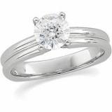 Ribbed Design 1/2- 1.00 Carat Round Solitaire Engagement Moissanite Ring Mounting 14K White Gold