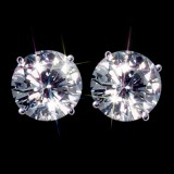 Forever Brilliant 2.50 Carat t.w 7 mm Certified Round Moissanite Stud Earrings Luxuriously set in Classic 4 Prong studs in 14K WG Mountings