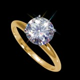 6.00 mm (3/4 carat) Certified Round Cut Forever One GHI Moissanite Engagement Solitaire Ring 14K in Yellow Gold