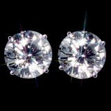 Forever Brilliant 3.00 Carat t.w. 7.5 mm Certified Round Moissanite Stud Earrings Luxuriously set in Classic 4 Prong studs in 14K WG Mountings