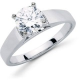 MOISSANITE ENGAGEMENT RING 06.50MM=1.00 CT 14K White Gold