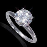 6.00 mm (3/4 carat) Certified  Round Cut Forever One GHI Moissanite Engagement Solitaire Ring in 14K White Gold 4 Prong Setting