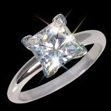 5.50 mm (1.00 carat) Forever One GHI Certified Moissanite Princess Cut Engagement Solitaire Ring 14K WG