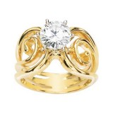MOISSANITE SOLITAIRE DESIGN RING 07.50 MM = 1 1/2 CT 14K Yellow Gold