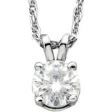 Moissanite Solitaire Round Cut Pendant 6.5 mm 1.00 Carat with 14k white gold chain