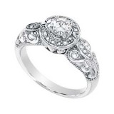 MOISSANITE AND DIAMOND RING 05.00MM=1/2CT&.08CTTW 14K White Gold