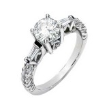 FOREVER ONE GHI MOISSANITE AND DIAMOND ENGAGEMENT RING 06.50MM=1CT&1/2CTTW 14K White Gold