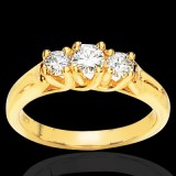 Three Stone Round Moissanite Ring 1.50 Carat T.W. 14K YG