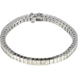 Forever One GHI Square Cut Moissanite Tennis Bracelet 9 1/2 carat 14k WG Princess Shape