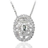 Forever One Oval 7 x 5 Moissanite and Diamond Vintage Design Necklace 1.75 carats tw