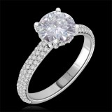 Forever One GHI Riviera Vintage Round Cut Moissanite & Diamond Engagement Ring 2.00 Carat T.W. Handcrafted in 14K White Gold