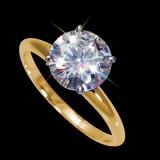 6.50 mm (1.00 carat) Certified Round Cut Forever One GHI Moissanite Engagement Solitaire Ring in 14K Yellow Gold