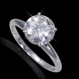 6.50 mm (1.00 Carat) Forever Brilliant Certified Round Cut Moissanite Engagement Solitaire Ring in 14K White Gold 4 Prong Setting
