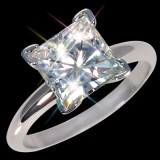 7.00 mm (2 carat) 2.10 ctw Forever One GHI Certified Moissanite Princess Cut Engagement Solitaire Ring 14K WG