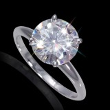 8.00 mm (2.00 carat) Forever Brilliant Certified Round Cut Moissanite Engagement Solitaire Ring in 14K White Gold