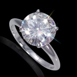 9.50 mm (3.10 carat) Forever Brilliant Certified Round Cut Moissanite Engagement Solitaire Ring in 14K White Gold 4 Prong Setting