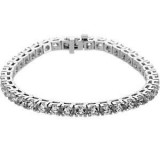 Forever One GHI Moissanite Tennis Bracelet 6.75 Carat 14K WG Round Brilliant Cut Shape