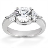 MOISSANITE THREE STONE RING 4 1/4 CTTW Round with Trillions in 14K White Gold
