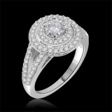 Forever One GHI Riviera Vintage Round Cut Moissanite & Diamond Engagement Ring 1.25 Carat T.W. Handcrafted in 14K White Gold