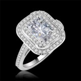 Forever-One GHI Riviera Vintage Emerald Cut Moissanite & Diamond Engagement Ring 1.75 Carat T.W. Handcrafted in 14K White Gold