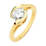 MOISSANITE SOLITAIRE ENGAGEMENT RING 06.50 MM = 1 CT 14K Yellow Gold