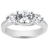 MOISSANITE THREE STONE RING 5 CTTW Round in 14K Yellow Gold