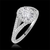 Riviera Vintage Oval Cut Moissanite & Diamond Engagement Ring 1.75 Carat T.W. Handcrafted in 14K White Gold