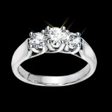 Three Stone Round Moissanite Ring 1.00 Carat T.W. 14K WG