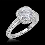 Forever One GHI Riviera Vintage Round Cut Moissanite & Diamond Engagement Ring 1.50 Carat T.W. Handcrafted in 14K White Gold